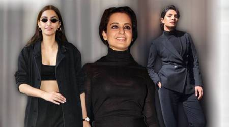 all black outfits, all-black fashion, Priyanka Chopra, Priyanka Chopra all black fashion, Priyanka Chopra fashion, Kangana Ranaut all black fashion, Kangana Ranaut fashion, Sonam Kapoor all black, Esha Gupta all black, Alia Bhatt all black, indian express, indian express news