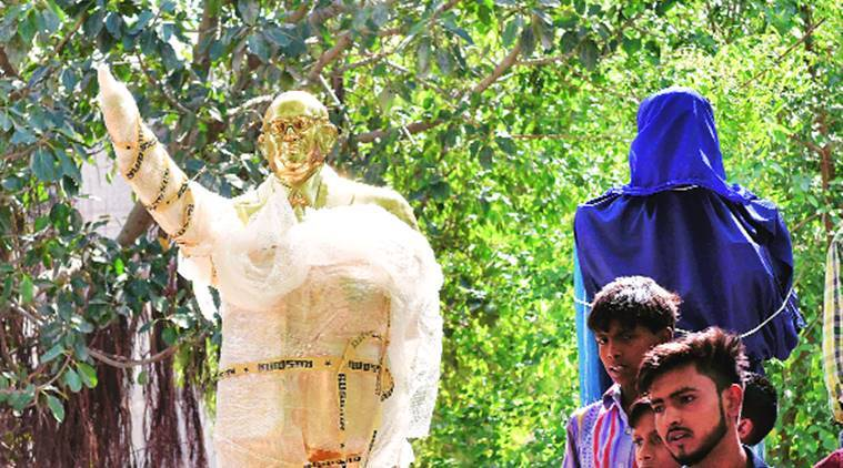 Cage 'protects' Ambedkar statue in Badaun, removed
