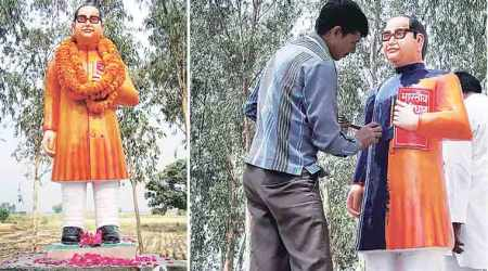 Vandalised BR Ambedkar statue gets saffron replacement in Badaun, repainted blue