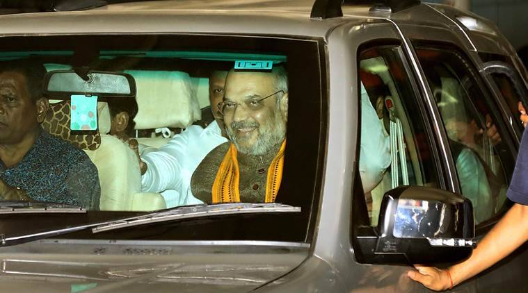 BJP president Amit Shah arrives in Mumbai on Thursday night prior to the party's Foundation Day celebrations to be held on Friday. Nirmal Harindran