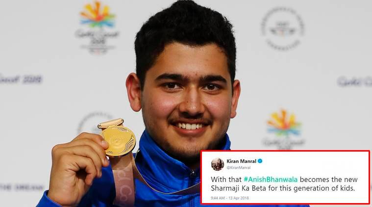 cwg 2018, Anish Bhanwala, bhanwala, youngest medallist cwg, india medals cwg, shooting news, commonwealth games 2018, trending news, indian express, twitter reactions