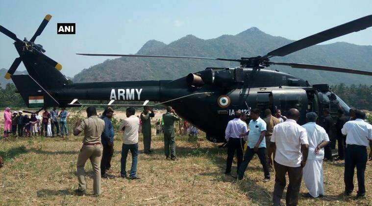 Indian Army chopper makes an emergency landing in Vellore.