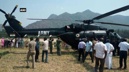 Army helicopter makes emergency landing inVellore