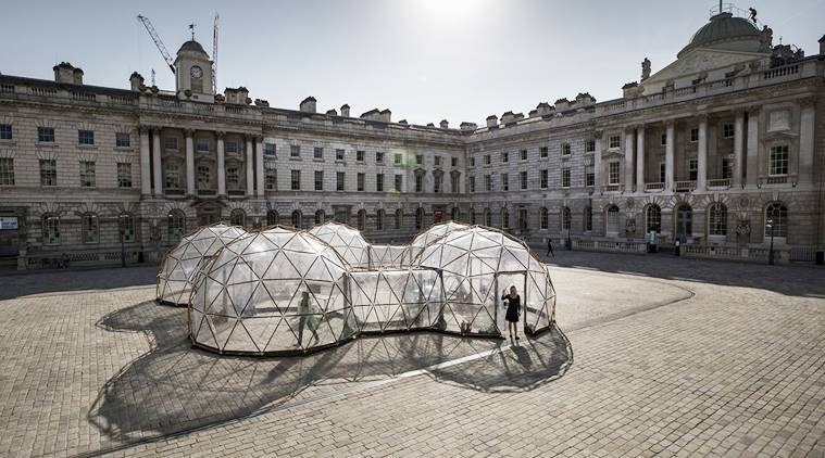 pods simulate air quality, pollution pods, pods to depict pollution, pollution pods art installation Michael Pinsky,Michael Pinsky art installation, indian express, indian express