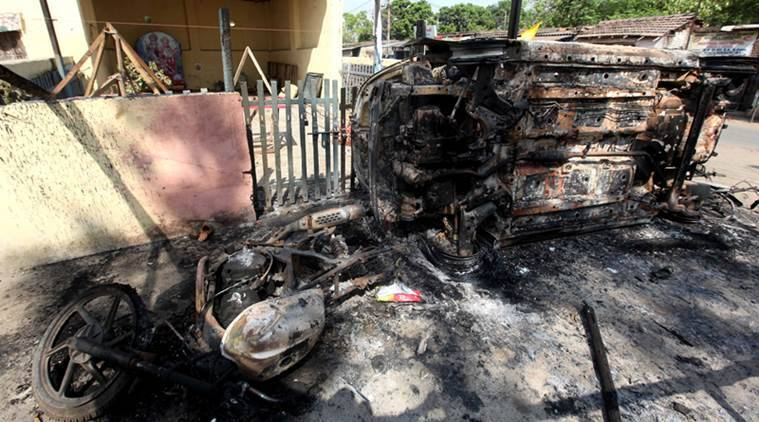 The gutted cars after Ramnabami riot at Chandmari last week. (Express photo/Subham Dutta)