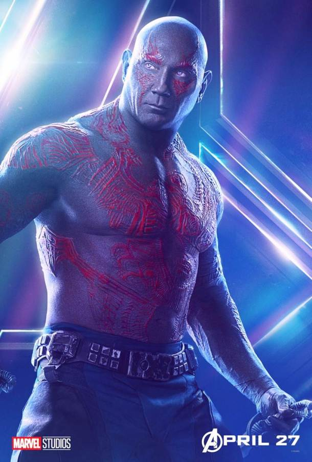 Dave Bautista as Drax the Destroyer in avengers infinity war