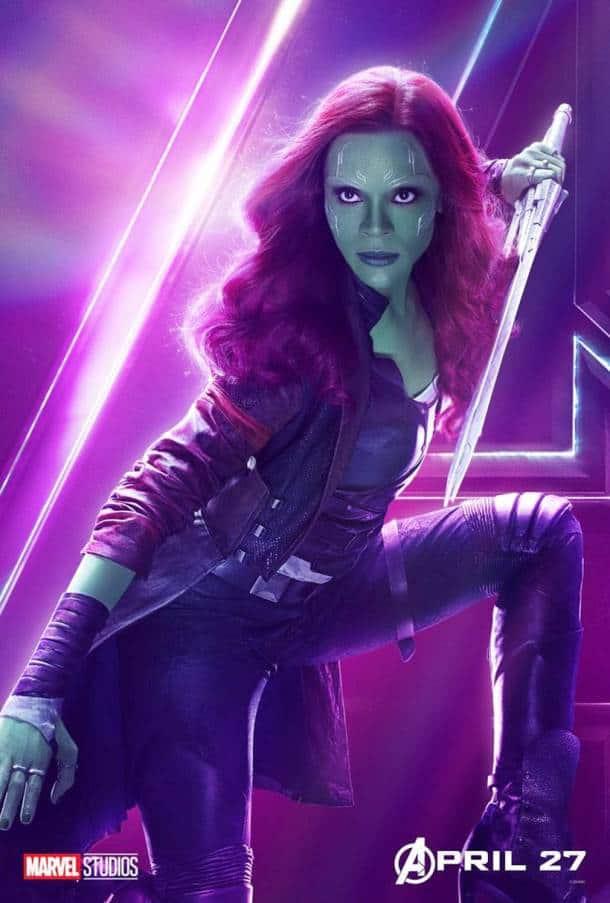 Zoe Saldana as Gamora in avengers infinity war