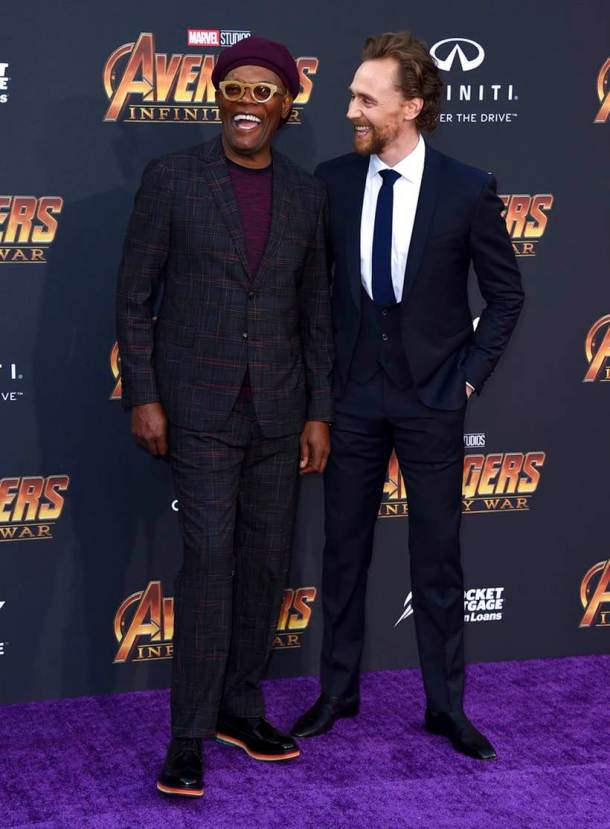 Samuel L. Jackson, Tom Hiddleston avengers infinity war loki