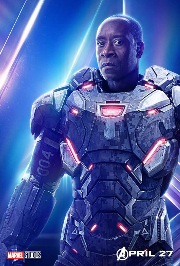 Don Cheadle as James Rhodes in avengers infinity war