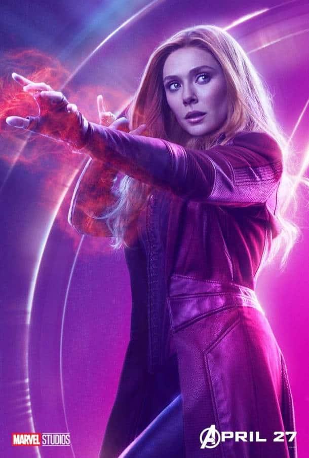 Elizabeth Olsen as Scarlet Witch aka Wanda Maximoff in avengers infinity war