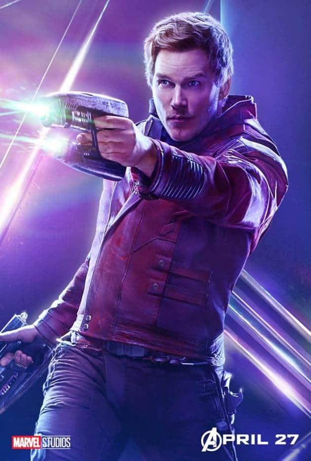 Chris Pratt as Star-Lord in in avengers infinity war