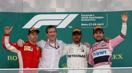 Lewis Hamilton, Kimi Raikkonen and Sergio Perez on podium at Azerbaijan Grand Prix
