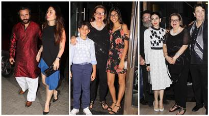 Kareena Kapoor, Karisma Kapoor and Saif Ali Khan descend at  Babita Kapoor's birthday bash