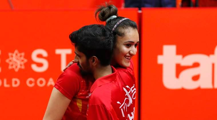 Manika Batra and Sathiyan G in the mixed doubles bronze medal match at Commownealth Games