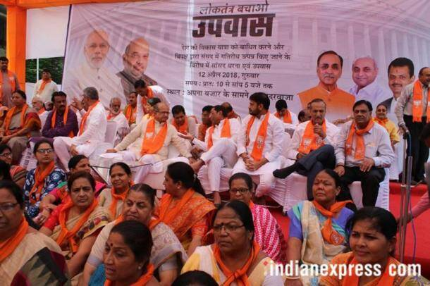 bjp fast photos, bjp hunger strike images, fast protest pics, modi, amit shah, bjp leaders observing fast pictures, indian express