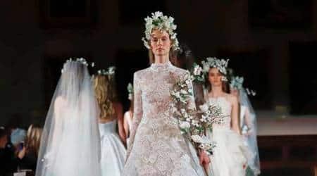 Bridal Fashion Week, Bridal Fashion Week Amsale, Bridal Fashion Week Romona Keveza, bridal dresses, wedding dress designs, Bridal Fashion Week Reem Acra, indian express, indian express news