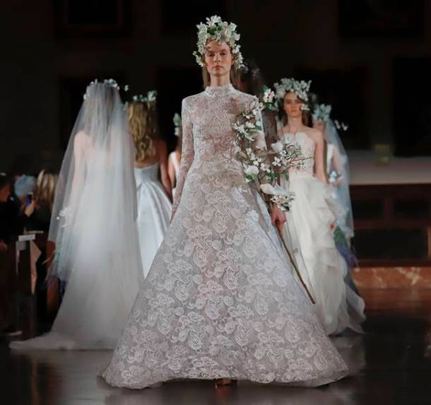 Bridal Fashion Week, Bridal Fashion Week Amsale, Bridal Fashion Week Romona Keveza, bridal dresses, wedding dress designs, Bridal Fashion Week Reem Acra, indian express, indian express news