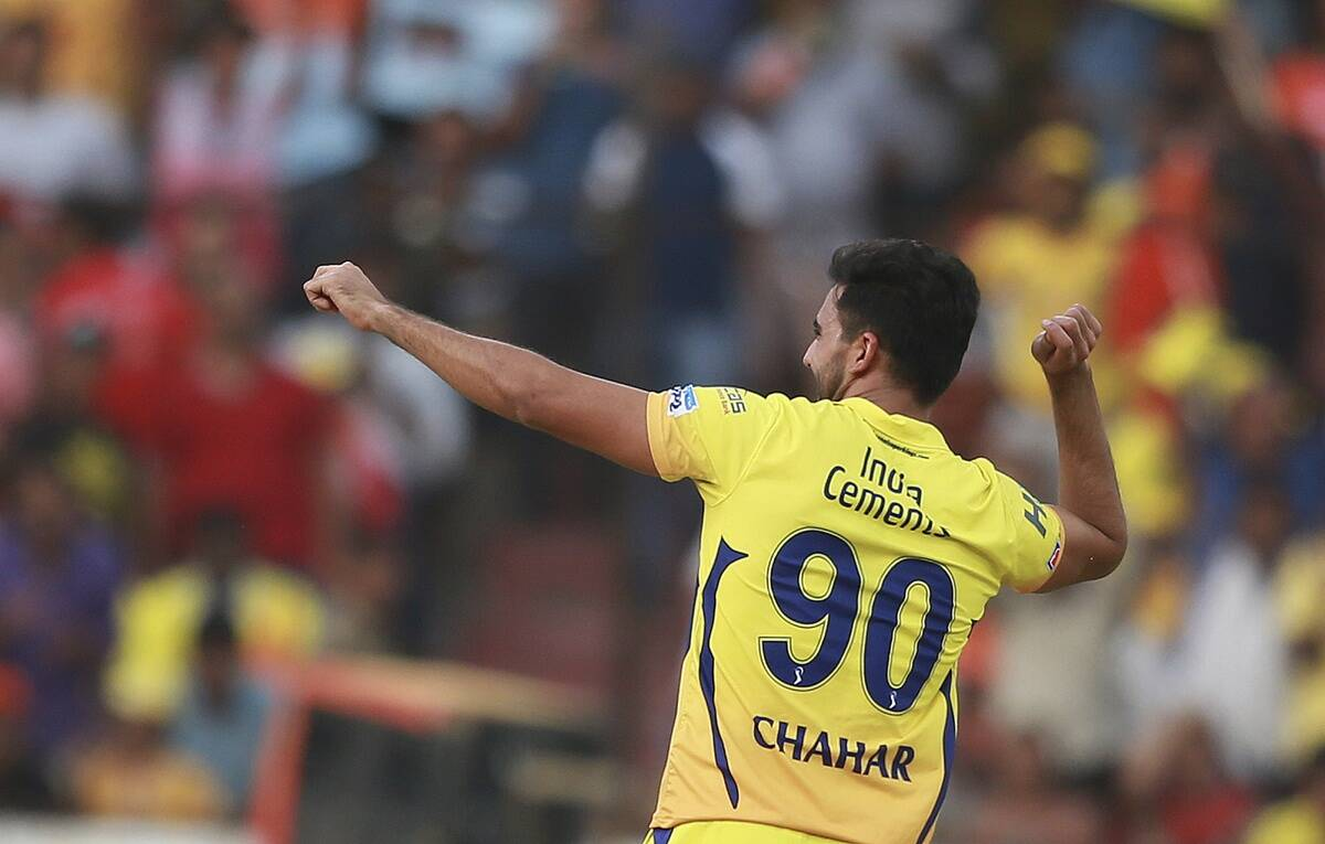 Chennai Super Kings' Deepak Chahar celebrates a wicket against Sunrisers Hyderabad in IPL 2018