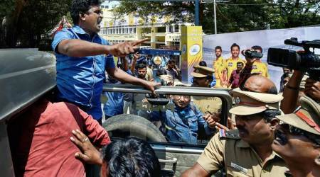 Chennai IPL protests highlights: Protesters carry 'Save Cauvery' banners inside stadium, 4 arrested for throwingslippers