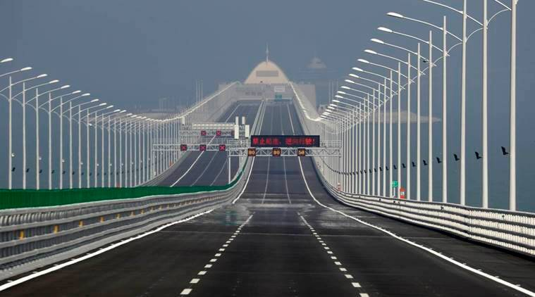 sea bridge, worlds longest sea bridge, china, zhuhai, macau, hong kong, indian express