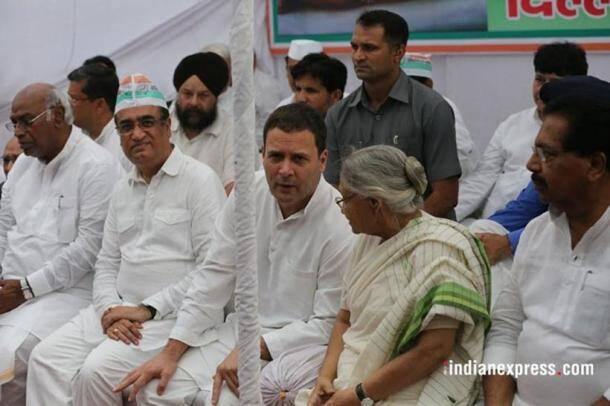 congress fast photos, rahul gandh images, cong protest pictures, shashi tharoor pics, congress hunger strike protest pics, indian express