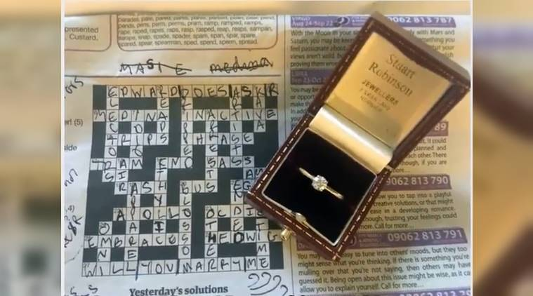 Romantic Riddle Uk Man Proposes Girlfriend With A Special Crossword Puzzle Trending News The Indian Express