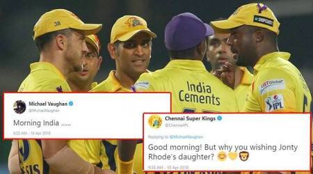 IPL 2018: Why is Michael Vaughan wishing Jonty Rhode's daughter India? CSK wants to know