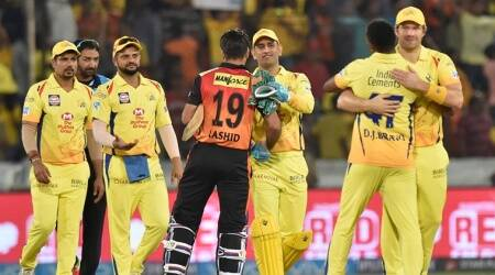CSK and SRH players at the end of the IPL match in Hyderabad