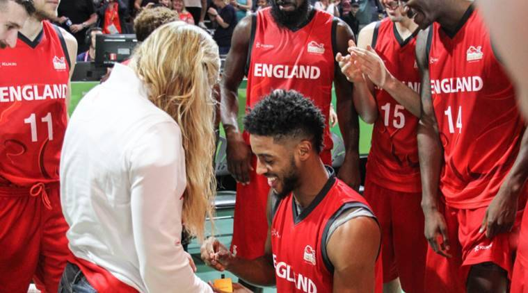 Cwg 2018 Englands Basketball Player Proposes On Court Watch Video