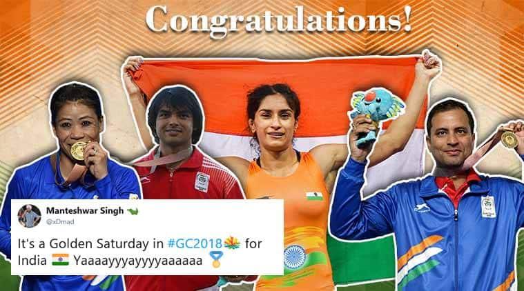 cwg 2018, commonwealth games 2018, India cwg gold, cwg day 10 gold, mary kom, neeraj chopra, vinesh phogat, cwg news, india news, cwg medal tally