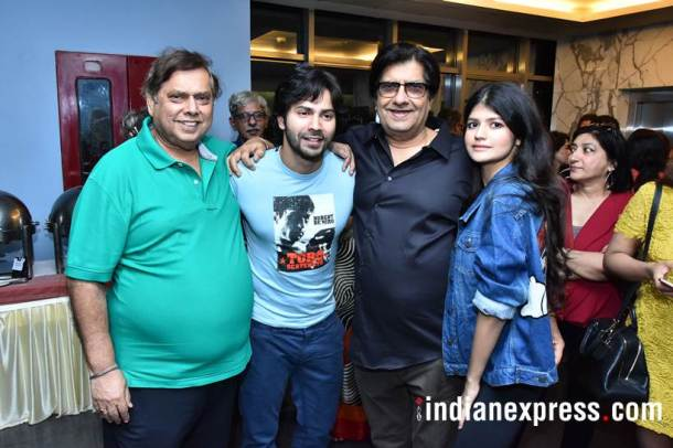 david dhawan and varun dhawan at october screening