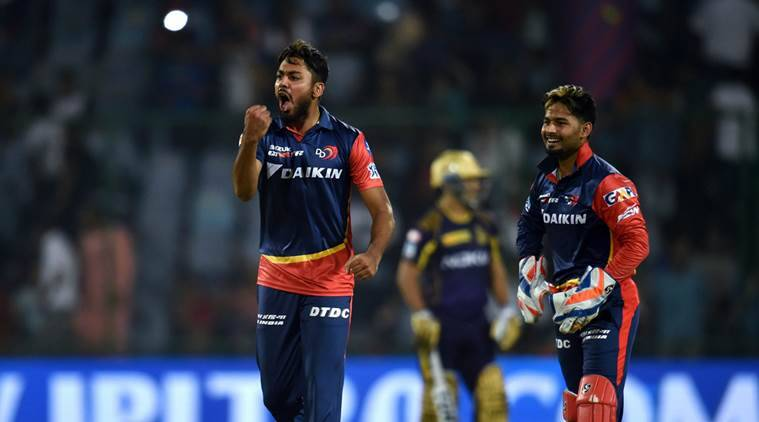 Delhi Daredevils bowler Avesh Khan celebrates after taking wicket of Kolkata Knight Riders batsman Andre Russell