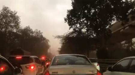 Delhi-NCR residents witness dust storm, light rainfall; temperature dips