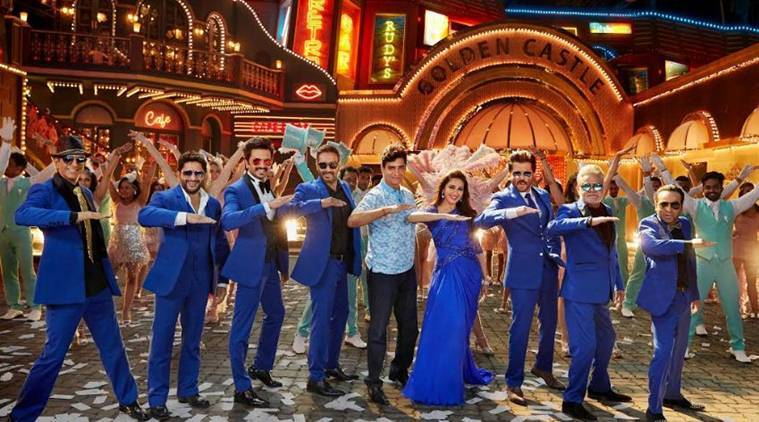 the cast of total dhamaal with director Indra Kumar