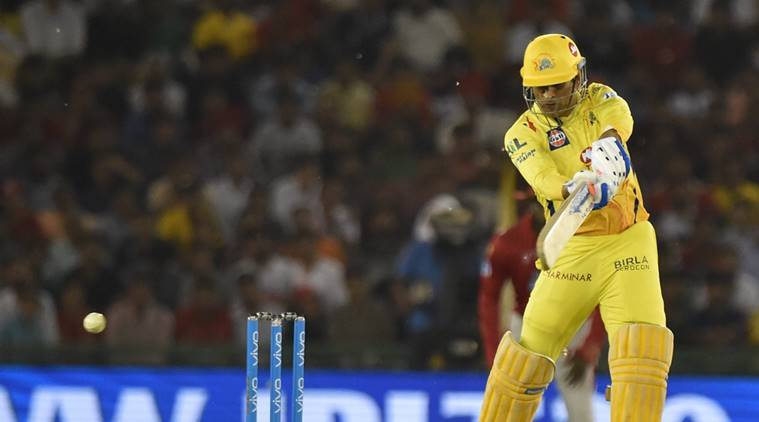 CSK's MS Dhoni in action in the IPL against KXIP in Mohali
