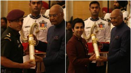 MS Dhoni, Pankaj Advani receive Padma Bhushan at Rashtrapati Bhavan