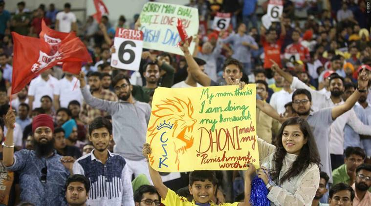 Fans during the KXIP vs CSK game in the IPL