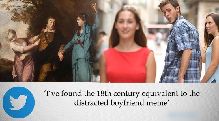 distracted boy meme, boy checking out other girl meme, 18th century painting meme, jospeh reynold painting, funny meme, indian express, indian express news