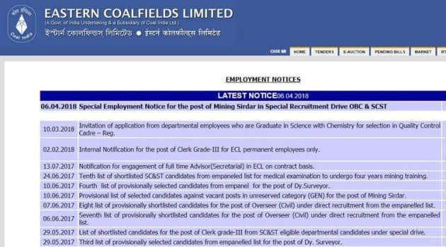 eastern coalfields jobs, govtjobs, latest government jobs, easterncoal.gov.in