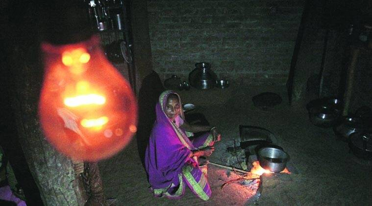 In electrified villages, homes without electricity