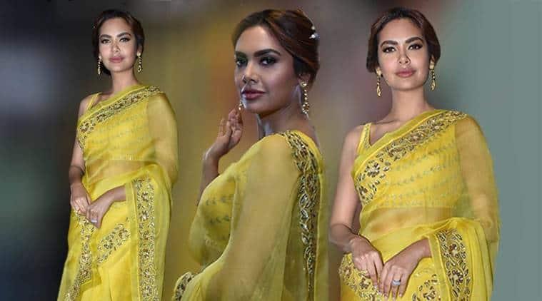 Esha Gupta, Esha Gupta yellow sari, Esha Gupta bold colours, Esha Gupta fashion, Esha Gupta ethnic fashion, Esha Gupta latest photos, Esha Gupta style, indian express, indian express news