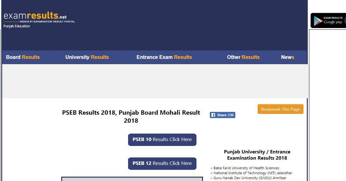PSEB Class 12th Result 2018 highlights: Overall pass percentage