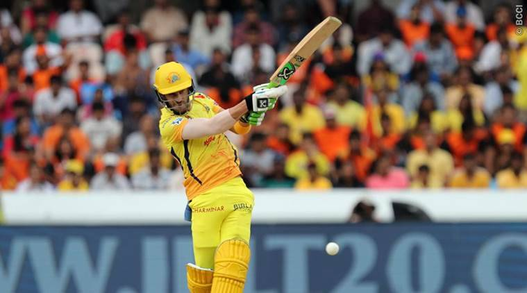 CSK's Faf du Plessis in action against Sunrisers Hyderabad in Match 20 of IPL