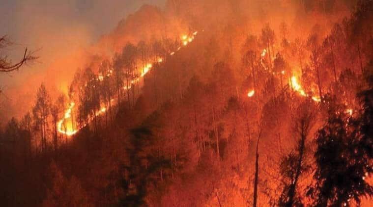 forest fire, mountains fire, Himalayas, Himalayas forest fire, Uttarakhand forest fire, Burning forest lands, himachal pradesh forest fire, environment news, Indian express