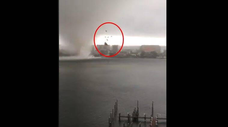 Waterspout comes ashore in Florida