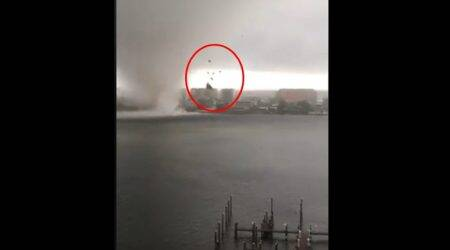 VIDEOS: Dramatic moment when tornado-like watersprout rips off building roof in Florida