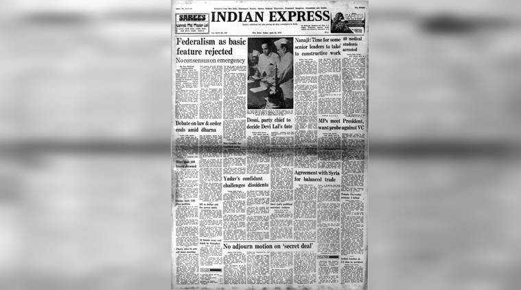 federalism, cpm, forward bloc, emergency, presidents rule, nanaji deshmukh, april 21 1978, forty years ago, indian express