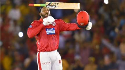 Gayle scores 63-ball 104* in Mohali