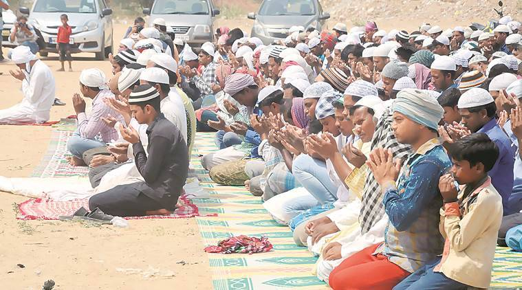 Muslims read Namaz at a vacant plot in Sector 53. (Express photo by Manoj Kumar)