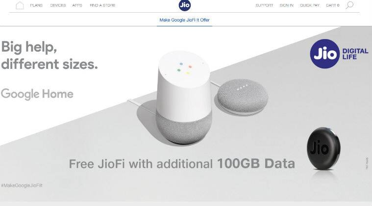 Reliance JioFi 100GB free data, Jio 100GB free data, JioFi 100GB free, Reliance Jio Google Home offer, 100GB Jio data Google Home, Jio recharge, Jio free data offer